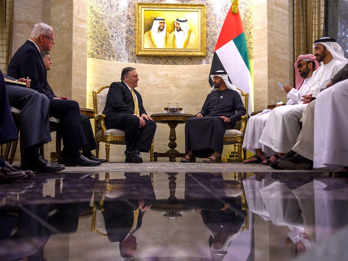 Abu Dhabi's Crown Prince Mohammed bin Zayed Al-Nahyan speaks with US Secretary of State Mike Pompeo during a meeting at Al-Shati Palace in Abu Dhabi. (File photo: Reuters)