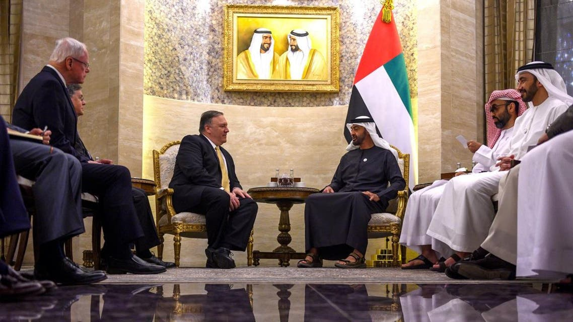 Abu Dhabi's Crown Prince Mohammed bin Zayed Al-Nahyan speaks with US Secretary of State Mike Pompeo during a meeting at Al-Shati Palace in Abu Dhabi. (Reuters)
