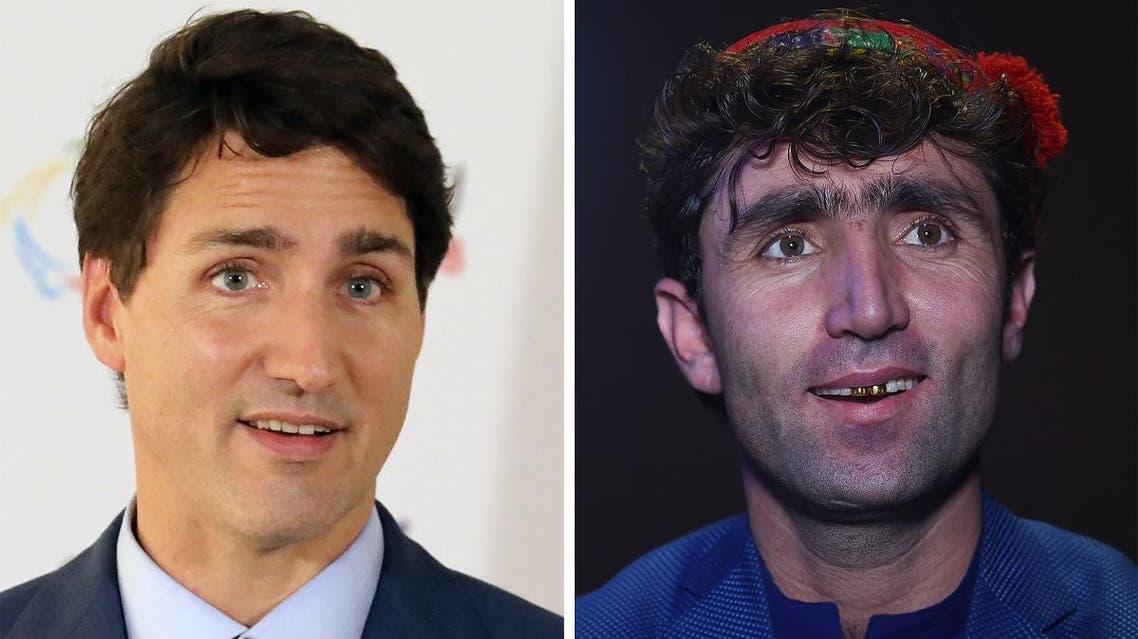 COMBO of Justin Trudeau and Afgani talent Abdul Salam Maftoon (AFP)