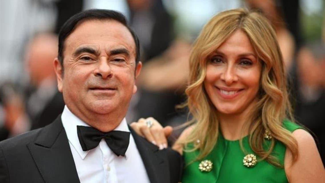 كارلوس غصن برفقة زوجته كارول غصن