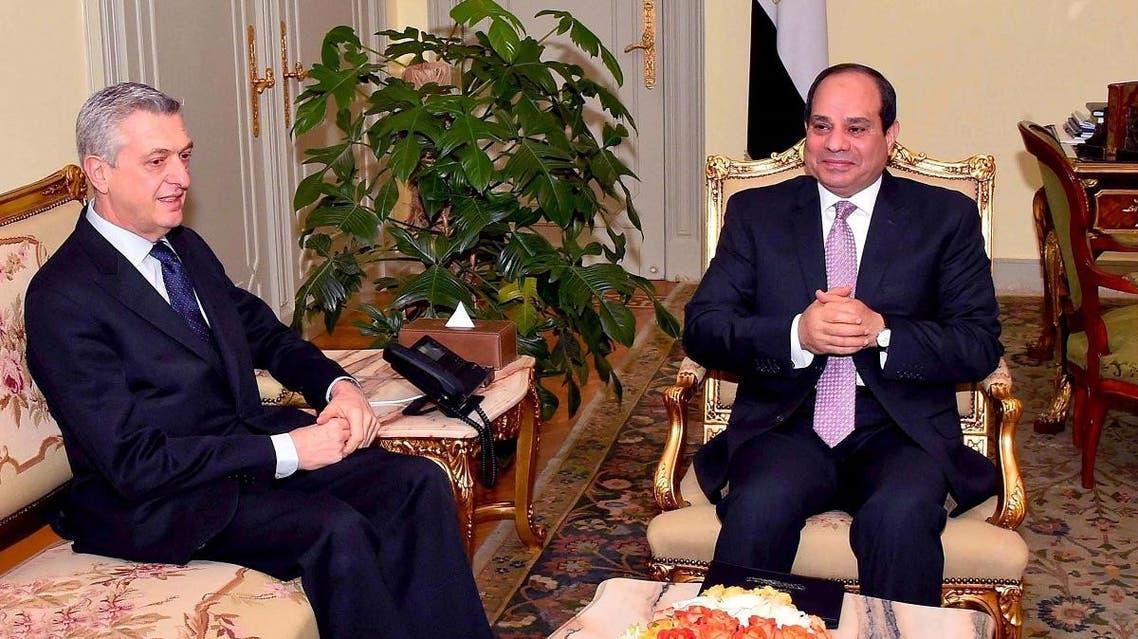 UN Grandi and Egypt Sisi (AFP)