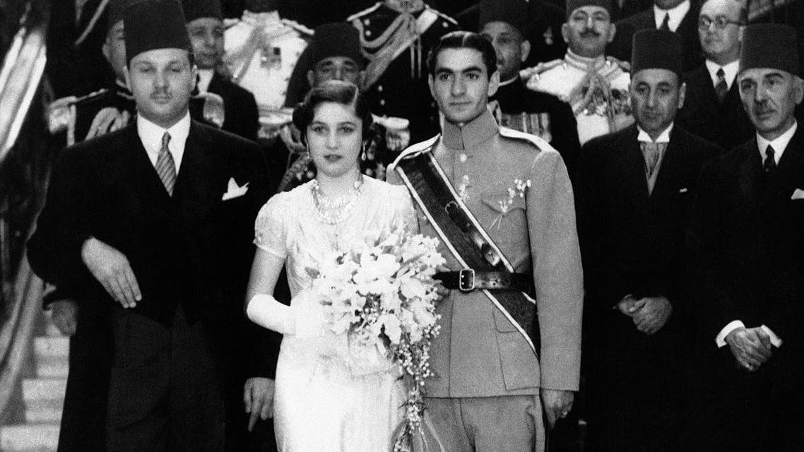 In this March 15, 1939 file photo, Prince Reza Pahlavi, (right), 19-year-old Crown Prince of Iran, marries Princess Fawzia, sister of King Farouk of Egypt, in Cairo. (AP)