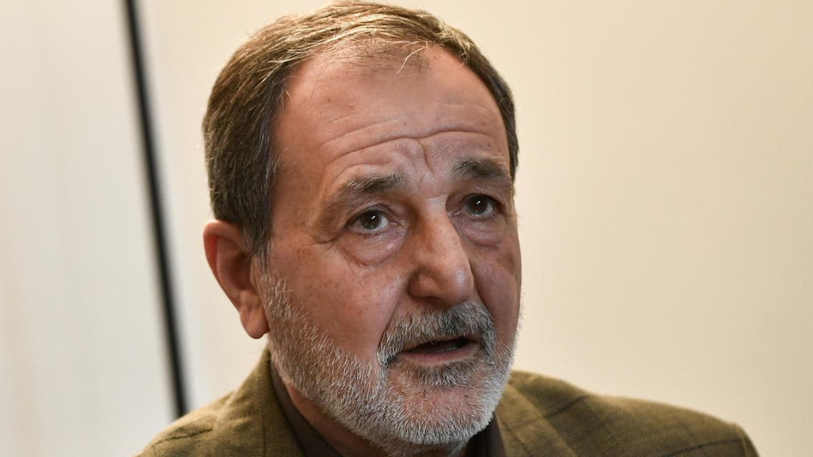 One of the two top political leaders of the Syrian Kurdish alliance and co-chair of the Syrian Democratic Council Riad Darar delivers a speech during a press-conference, in Paris, on December 21, 2018. Two top political leaders of the Syrian Kurdish alliance battling the Islamic State group visit Paris for talks on the planned US military withdrawal from Syria, an alliance representative said.