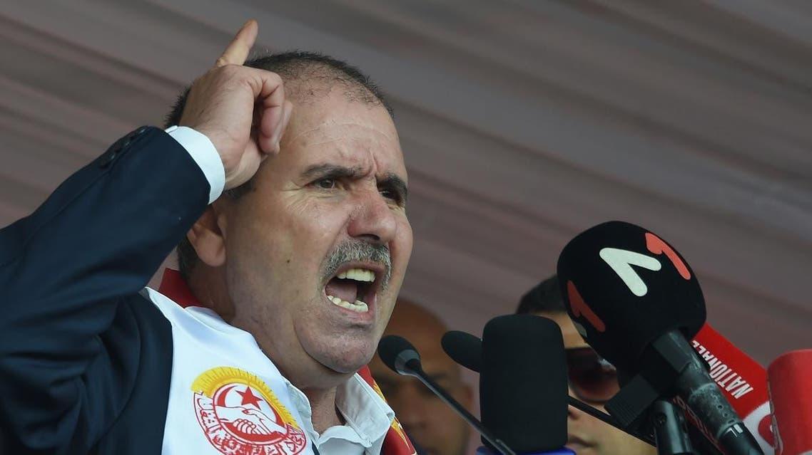 Tunisian General Secretary of Labour Union (UGTT) Noureddine Taboubi (AFP)