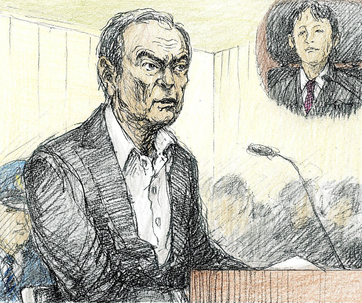 A court sketch shows ousted Nissan Motor Co Ltd chairman Carlos Ghosn during an open hearing at Tokyo District Court in Tokyo. (Reuters)