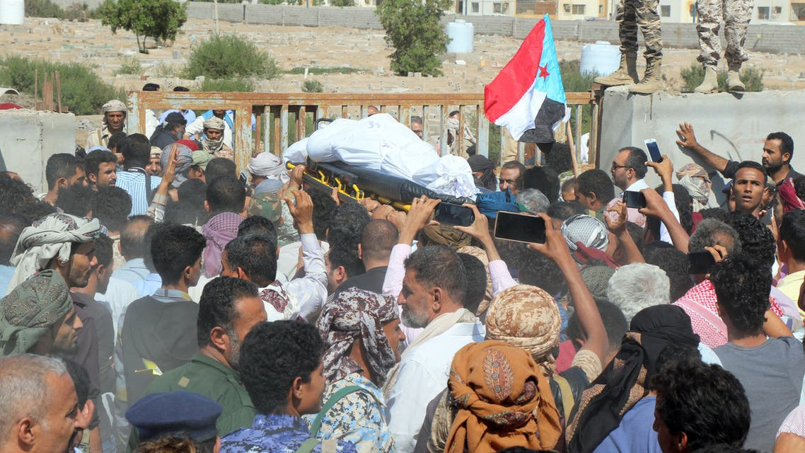 People carry the coffin of Major General Muhammad Saleh Tammah, the head of YemenÕs Military Intelligence Services, who died of injuries sustained in a Houthi drone attack on a military parade, in Aden, Yemen January 14, 2019. REUTERS/Fawaz Salman