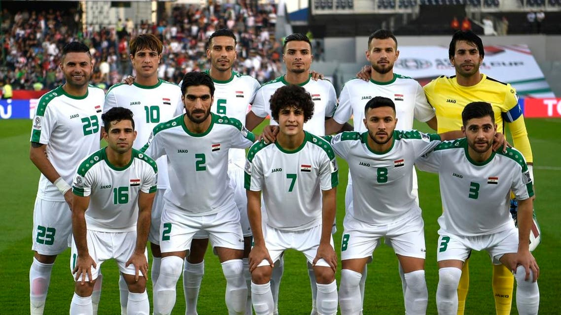 Iraq's team poses for a photograph prior to the 2019 AFC Asian Cup group D football match between Iraq and Vietnam at Zayed Sports City stadium in Abu Dhabi on January 8, 2019. (AFP)