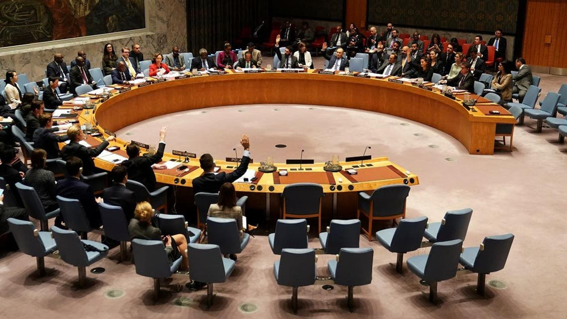 UN Security Council members vote on a resolution about Yemen's security at UN Headquarters in the Manhattan borough of New York City. (Reuters)