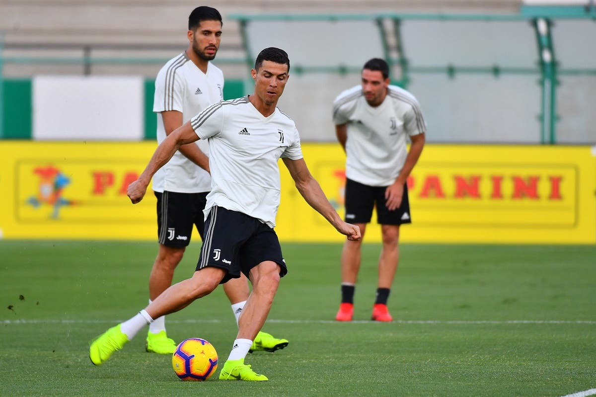 Juventus' Portuguese forward Cristiano Ronaldo takes part in training at the King Abdullah Sports City Stadium in Jeddah on January 15, 2019. (AFP)