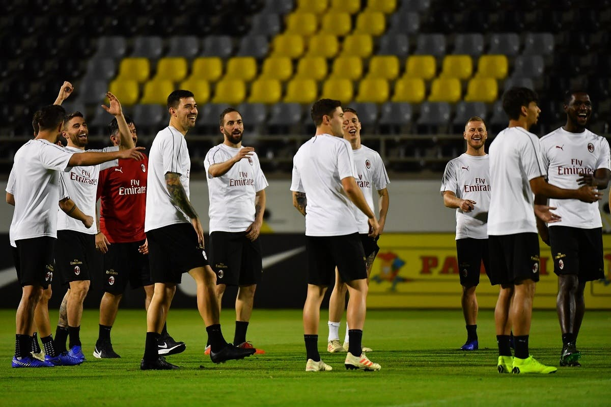 Milan's players take part in training at the King Abdullah Sports City Stadium in Jeddah on January 15, 2019, a day before the Supercoppa Italiana final against Juventus. (AFP)