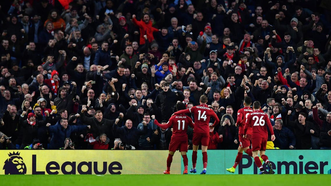 Liverpool's Mohamed Salah celebrates after scoring a goal on January 12, 2019. (Reuters)