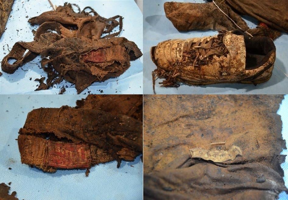 بعض ما كان يضعه ويرتديه، وجدوه مع الهيكل العظمي