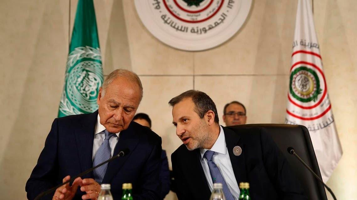 Lebanon FM Bassil and Egypt's Ahmed Aboul Gheit (AP)
