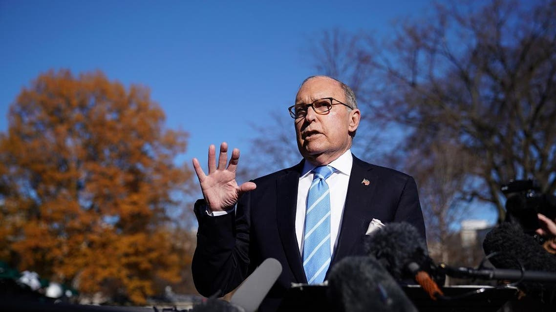 Director of the National Economic Council Larry Kudlow speaks to reporters outside the White House in Washington, DC on December 3, 2018. (AFP)