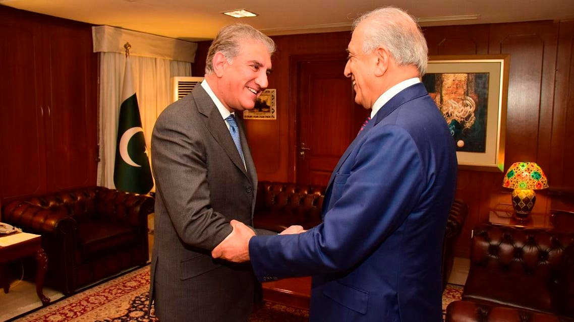 Pakistan's Foreign Minister Shah Mahmood Qureshi (left), receives US envoy Zalmay Khalilzad at the Foreign Ministry in Islamabad on January 18, 2019. (AP)