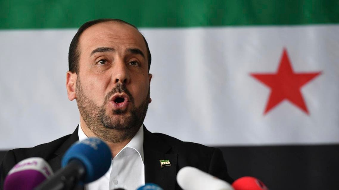 President of the Syria Negotiation Commission, Nasr Hariri, speaks during a media conference. (File photo: AP)