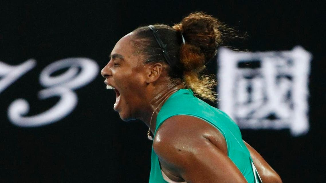 Serena Williams of the U.S. reacts during the match against Romania's Simona Halep. (Reuters)