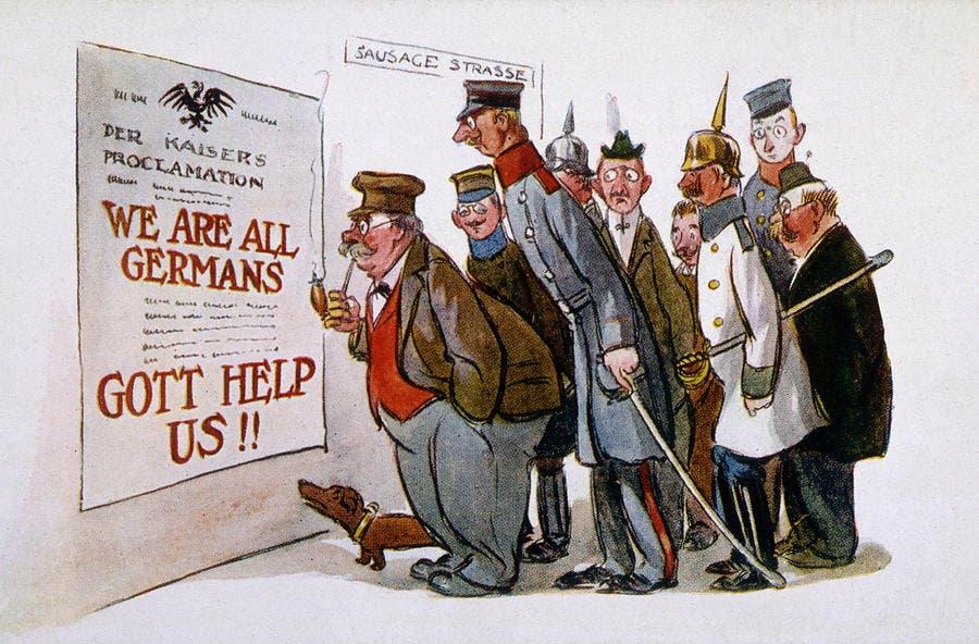صورة دعائية أميركية تبرز تخلي المهاجرين الألمان عن الولايات المتحدة الأميركية وحنينهم لموطنهم الأصلي