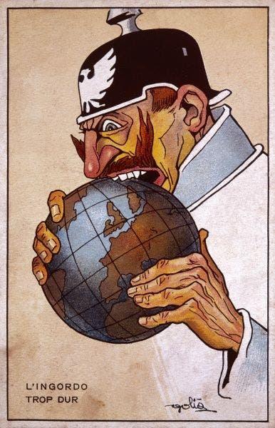 صورة دعائية تبرز القيصر الألماني فيلهلم الثاني وهو بصدد تدمير العالم