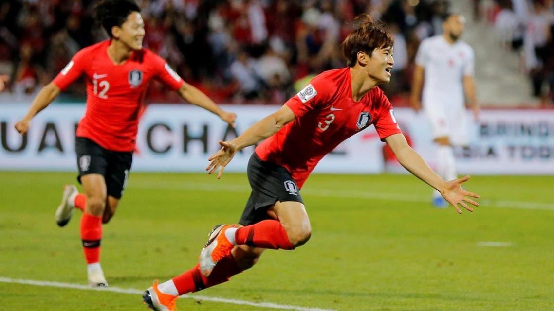 South Korea's Kim Jin-Su celebrates scoring their second goal. (Reuters)