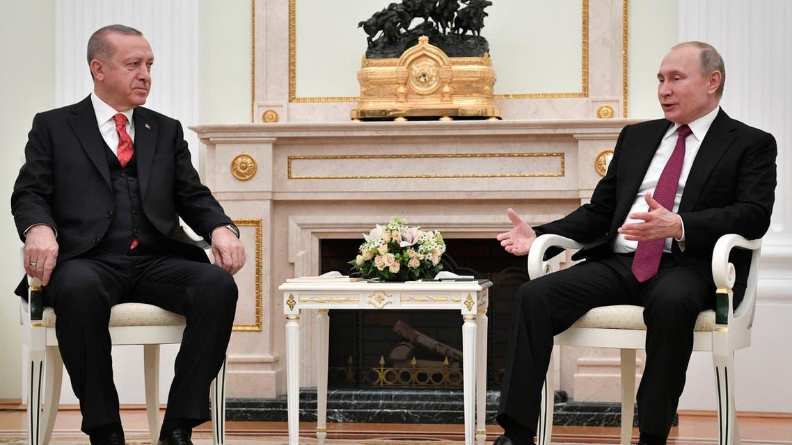 Russian President Vladimir Putin (R) meets with his Turkish counterpart Tayyip Erdogan at the Kremlin in Moscow, Russia January 23, 2019. Alexander Nemenov/Pool via REUTERS