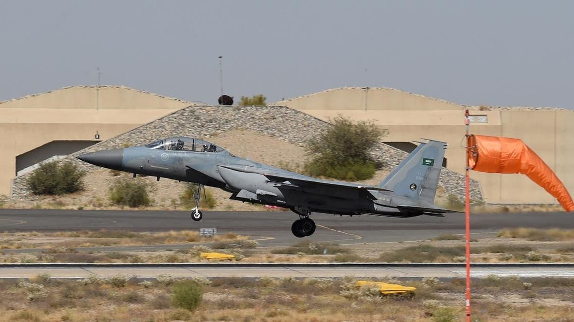 A picture taken on November 16, 2015 shows a Saudi F-15 fighter jet taking off from the Khamis Mushayt military airbase as part of coalition operations over Yemen in 2015. (File photo: AFP)
