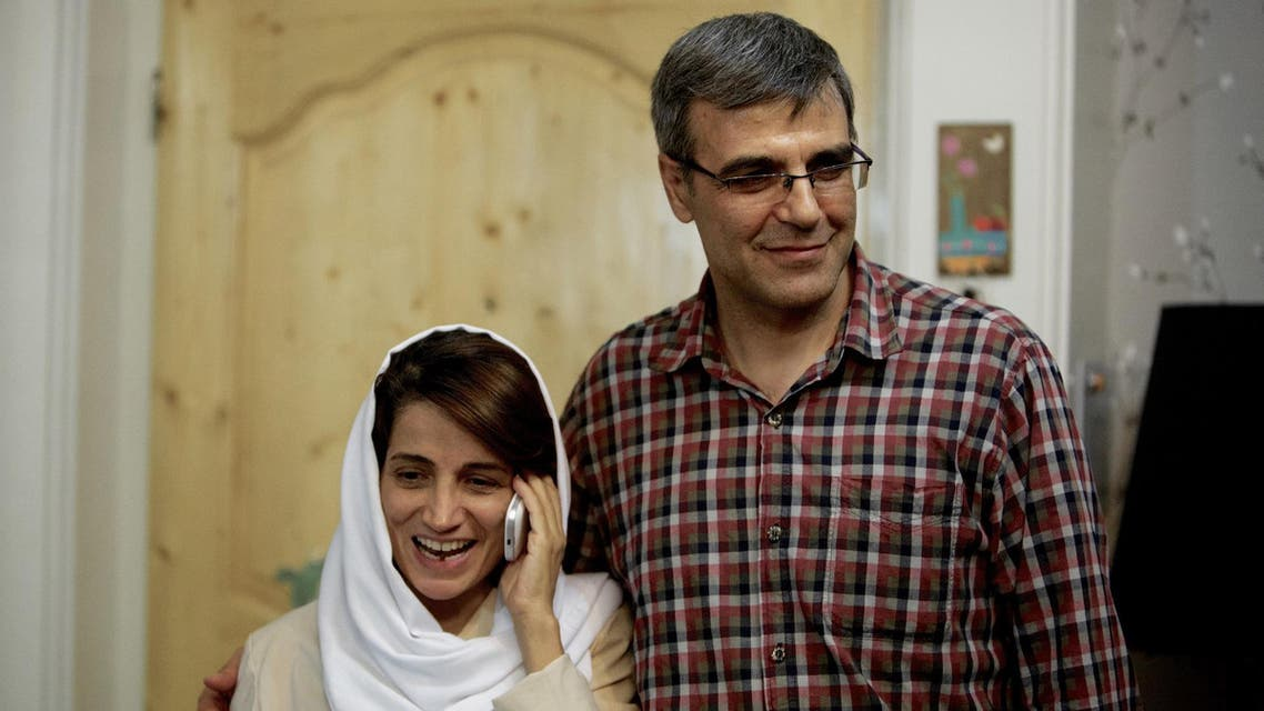 Human rights lawyer, Nasrin Sotoudeh, and her husband Reza Khandan. (File photo: AFP)