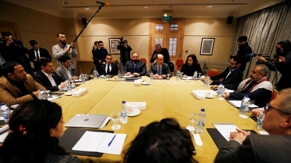 Delegates from the Houthi militias and the Yemeni government meet to discuss prisoner swap deal in Amman. (Reuters)