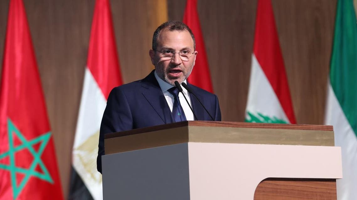 Lebanese Foreign Minister Gebran Bassil addressing a press conference at the end of a regional economic summit in the Lebanese capital Beirut, on January 20, 2019. (AFP)
