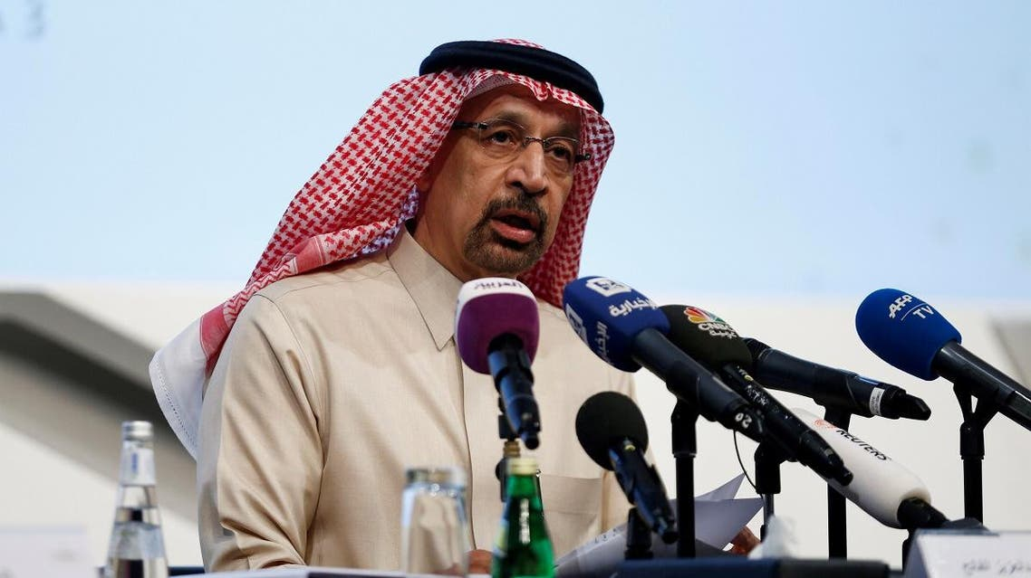 Saudi Energy Minister Khalid Al-Falih speaks at a press conference in Riyadh on January 9, 2019. (Reuters)
