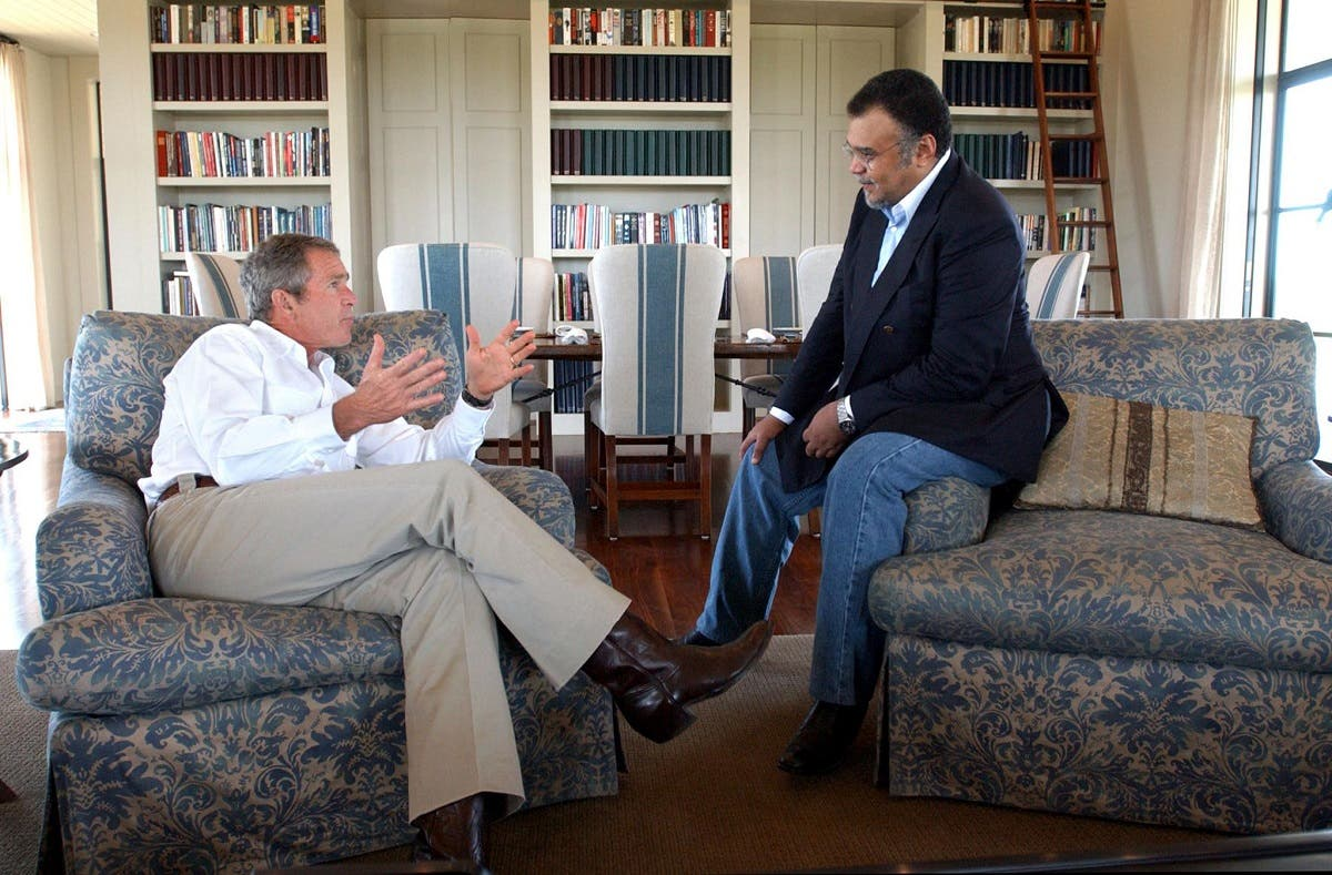 US President George W. Bush meets with then Saudi Arabian Ambassador to the US Prince Bandar bin Sultan at the Bush ranch in Crawford, Texas. (AFP)