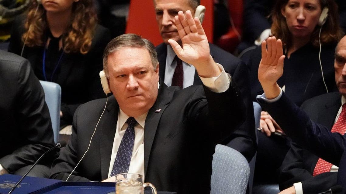 Pompeo is pictured voting at the United Nations during a Security Council meeting about the situation in Venezuela in the Manhattan borough of New York City. (Reuters)