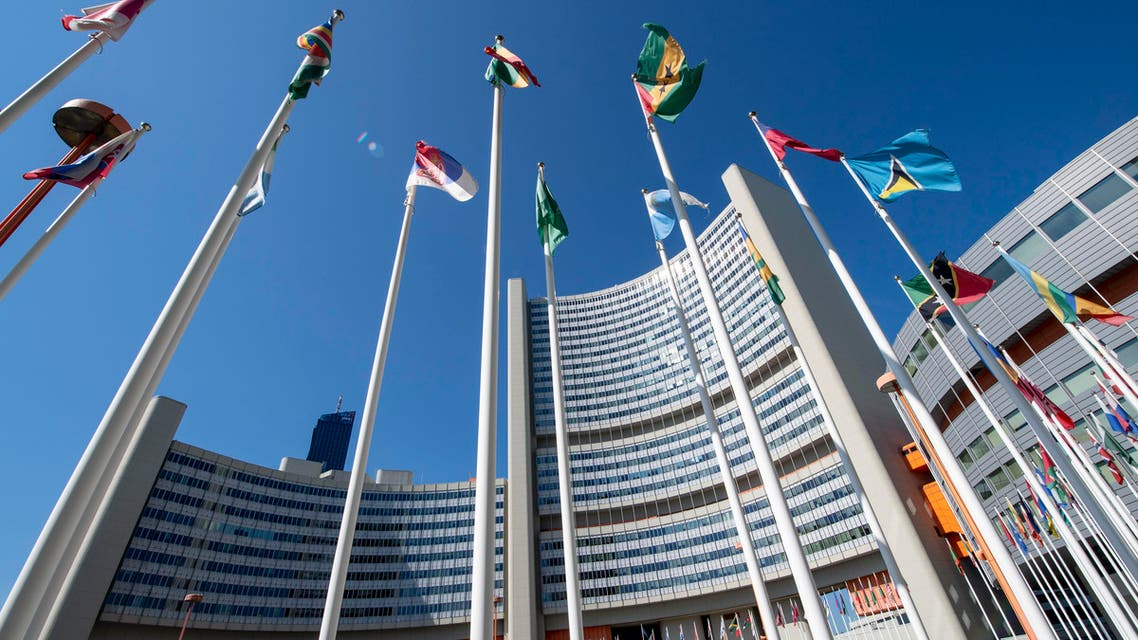 International flags flutter outside of the UN headquarters during the opening of the International Atomic Energy Agency (IAEA) Board of Governors meeting at the IAEA headquarters in Vienna, Austria on September 10, 2018.