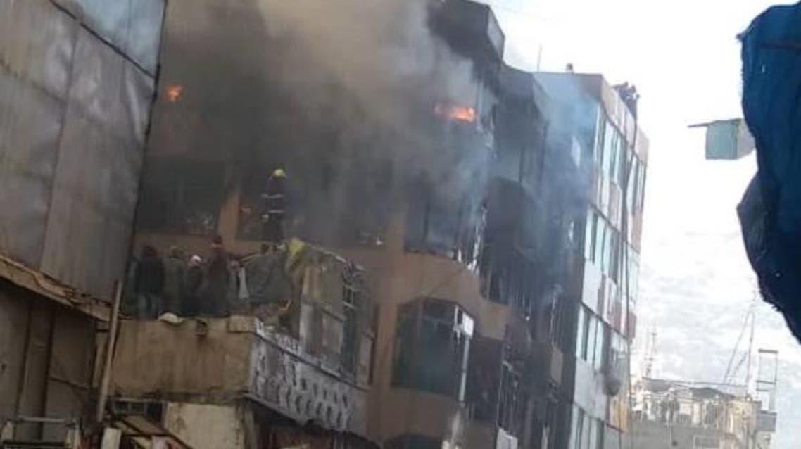آتش سوزی در یک فروشگاه تجارتی در شهر کابل