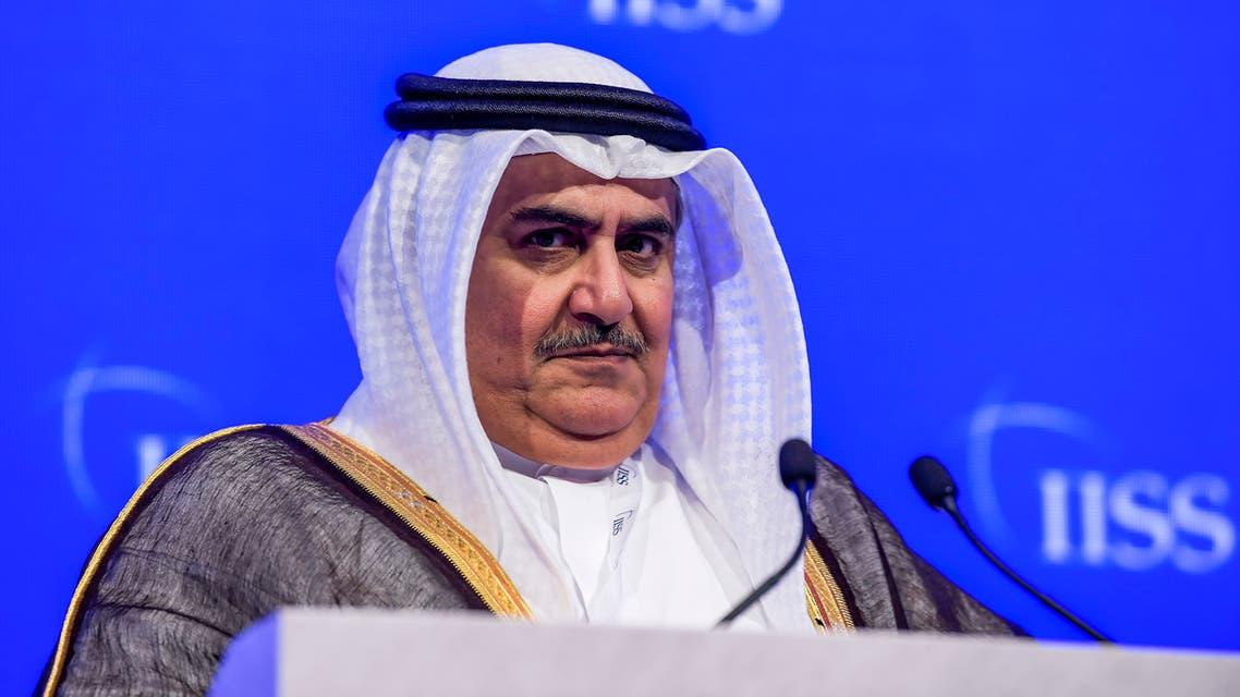 Bahrain's Foreign Minister Sheikh Khalid bin Ahmed Al-Khalifa addresses the 14th International Institute for Strategic Studies (IISS) Manama Dialogue in the Bahraini capital Manama on October 27, 2018.