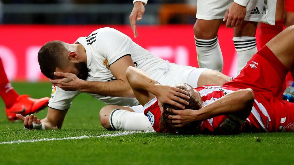 eal Madrid's Karim Benzema reacts after sustaining an injury. (File photo: Reuters)