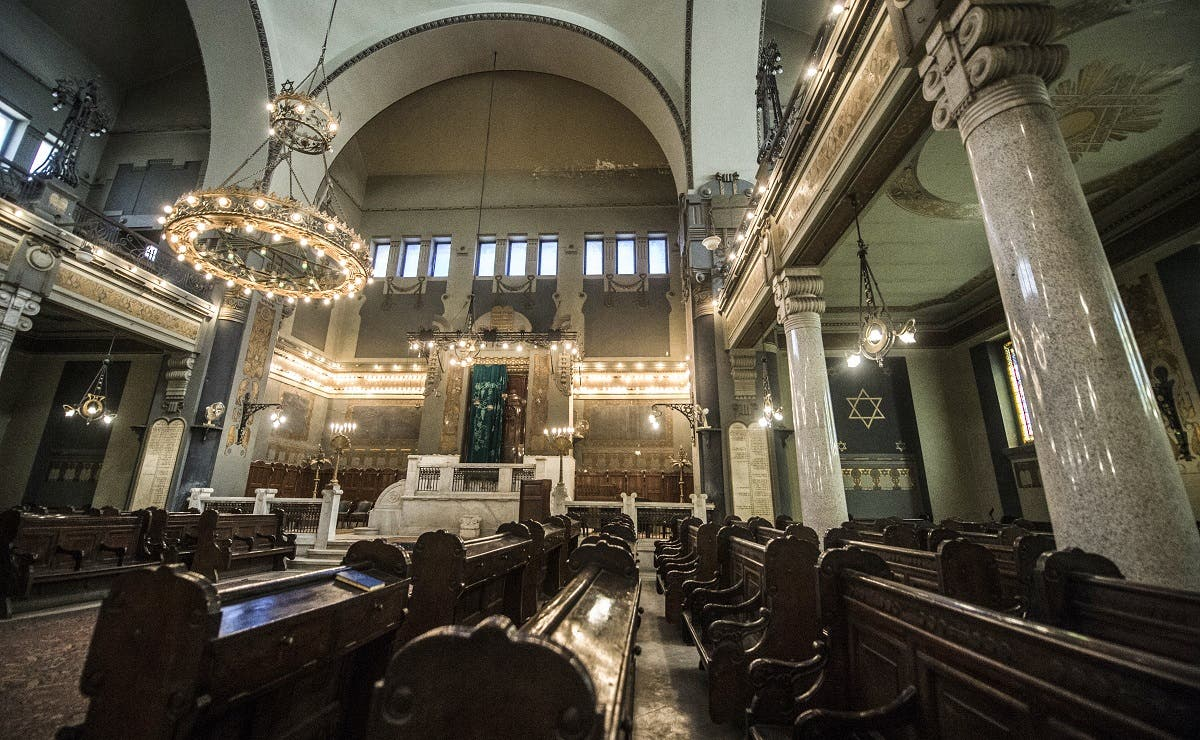 A general view of the interior of the Shaar Hashamayim Synagogue in Cairo. (AFP)