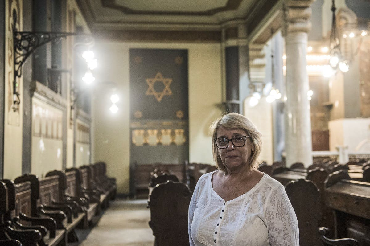 The president of the Egyptian Jewish Community, Magda Shehata Haroun, poses for a picture during an interview with AFP at the Shaar Hashamayim Synagogue in Cairo. (AFP)