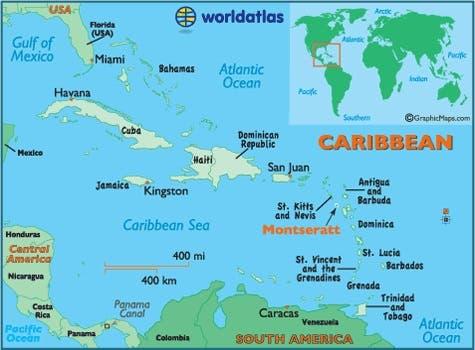 خريطة تبرز موقع جزيرة مونتسيرات