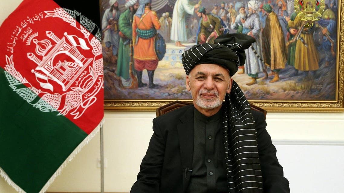 Afghanistan's President Ashraf Ghani speaks during a live TV broadcast at the presidential palace in Kabul, Afghanistan January 28, 2019. Presidential Palace office/Handout via REUTERS NO RESALES. NO ARCHIVE