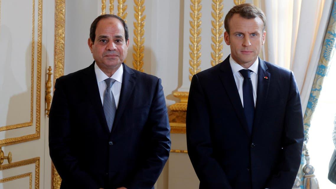 الرئيس الفرنسي إيمانويل ماكرون والرئيس المصري عبد الفتاح السيسي