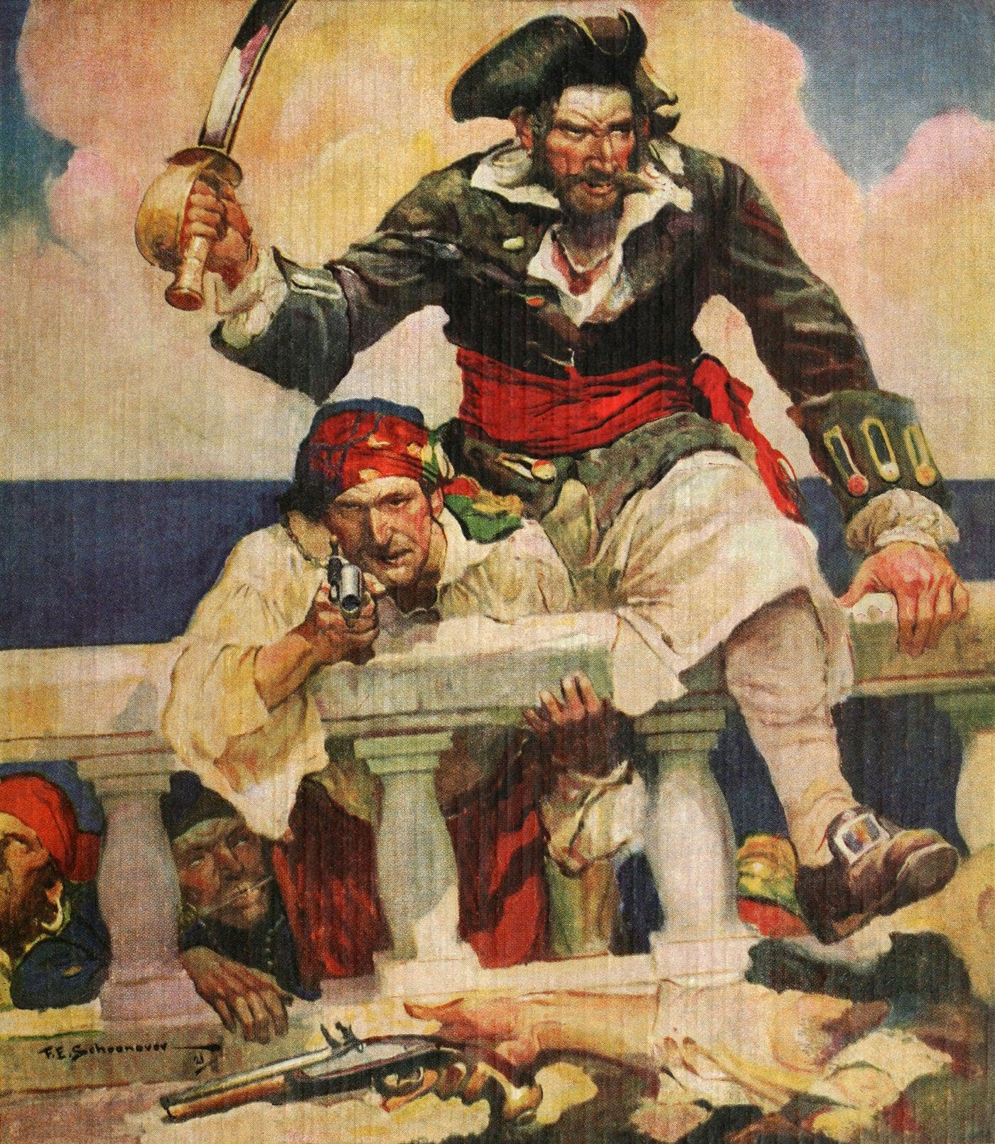 رسم تخيلي لعدد من القراصنة خلال القرن الثامن عشر