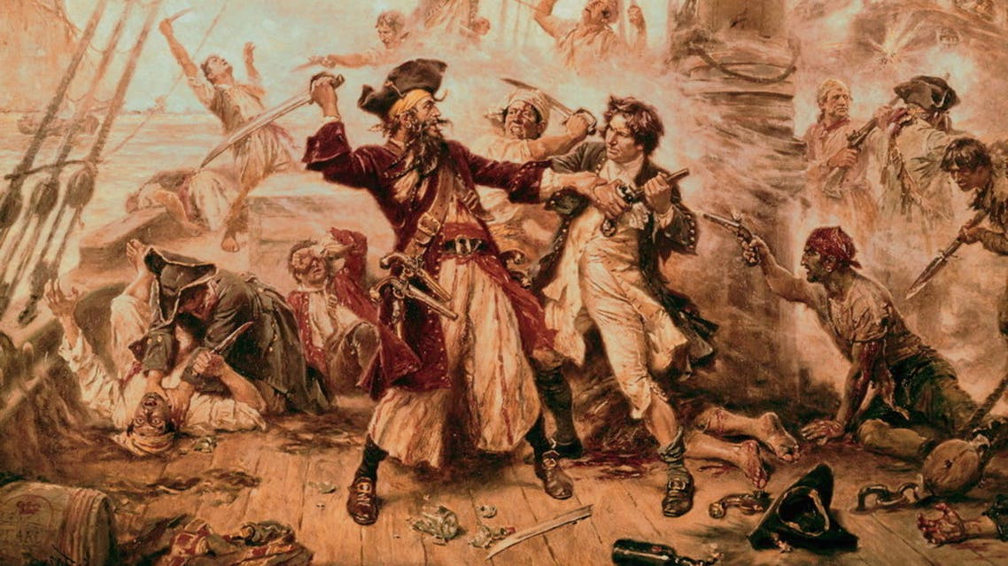 صورة لإحدى معارك القراصنة بالقرن الثامن عشر