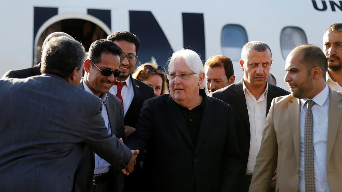 United Nations envoy to Yemen, Martin Griffiths, shakes hands with Houthi officials upon his arrival at Sanaa airport in Sanaa. (File photo: Reuters)