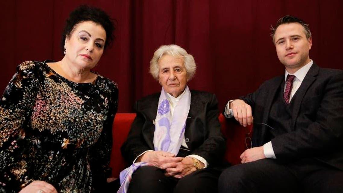 Holocaust survivor Anita Lasker-Wallfisch, center, her daughter Maya Jacobs Lasker-Wallfisch, left, and her grandson Simon Wallfisch, right. AP