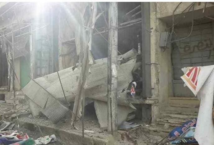 صورة يتناقلها ناشطون سوريون للدمار الذي خلفته الغارات على معرة النعمان