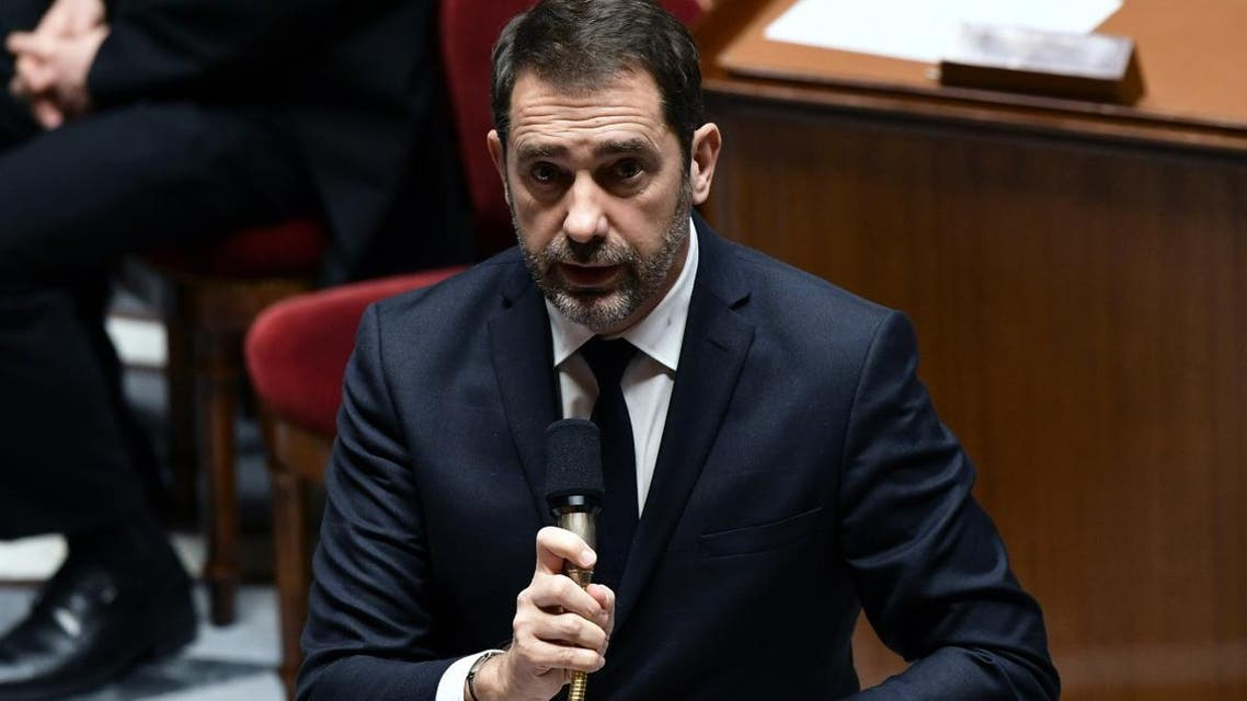 French Interior Minister Christophe Castaner speaks during a session of questions to the Government at the French National Assembly in Paris on January 29, 2019. (AFP)