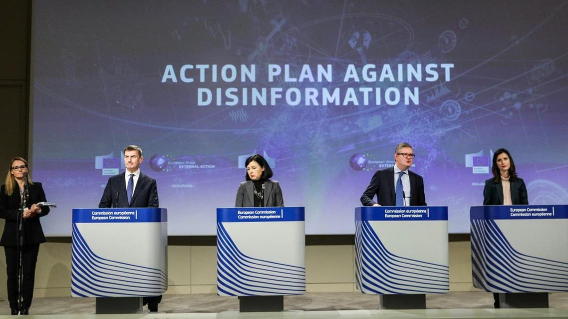 European Commission officials at the meeting on disinformation at the EU Commission headquarters in Brussels on December 5, 2018. (AFP)