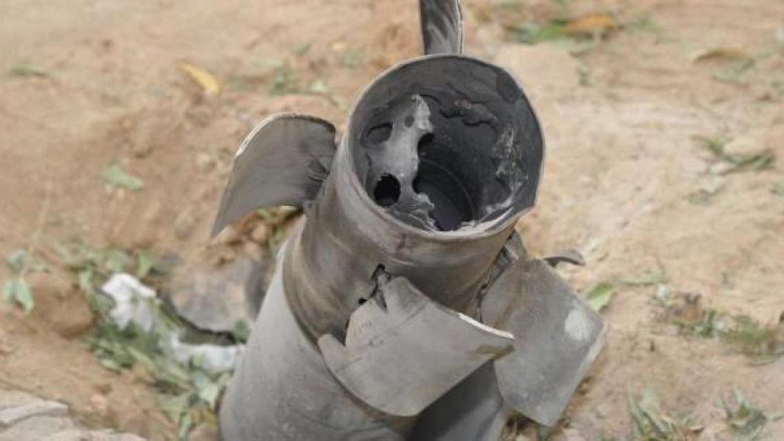 Remnants of a Houthi missile pictured in an earlier incident. (File photo)