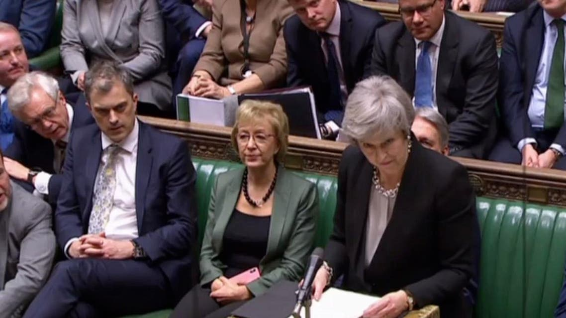 Videograb of Britain's Prime Minister Theresa May speaking to members of the House of Commons in London on January 29, 2019 after voting on amendments to Theresa May's Brexit withdrawal bill. (AP)